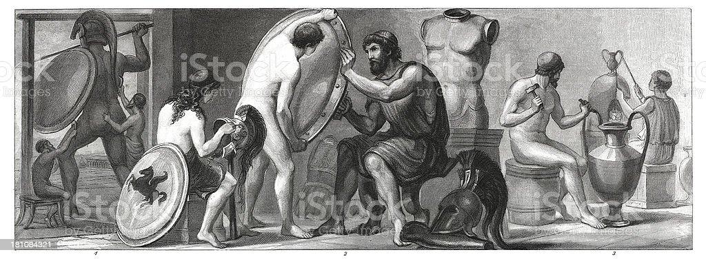 Personas de la antigua Grecia (madera antiguos grabado) - ilustración de arte vectorial