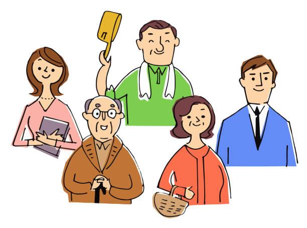 年齢の異なる5名 - 主婦 日本人点のイラスト素材/クリップアート素材/マンガ素材/アイコン素材