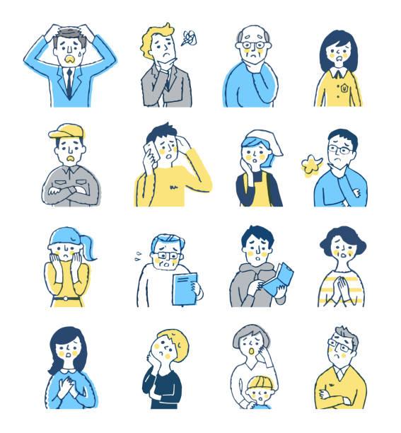 困った表情をした様々な年齢の人々 - 家族 日本人点のイラスト素材/クリップアート素材/マンガ素材/アイコン素材
