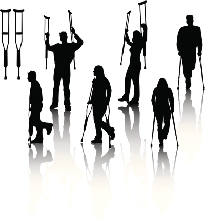People on crutches