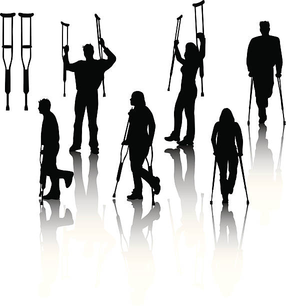 People on crutches vector art illustration