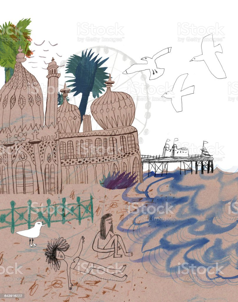 People on the beach at Brighton, UK vector art illustration