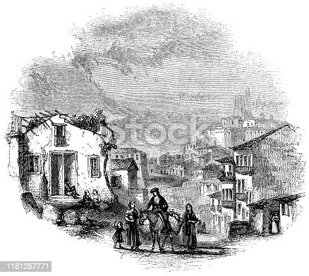 People on the streets of Messina on the island of Sicily, Italy (circa 16th century) from the Works of William Shakespeare. Vintage etching circa mid 19th century.