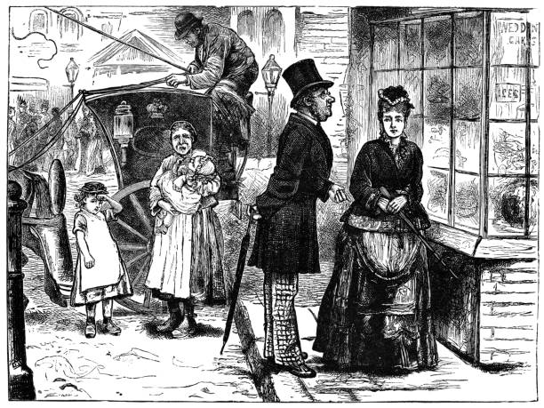 People on the Streets of London, England - 19th Century vector art illustration