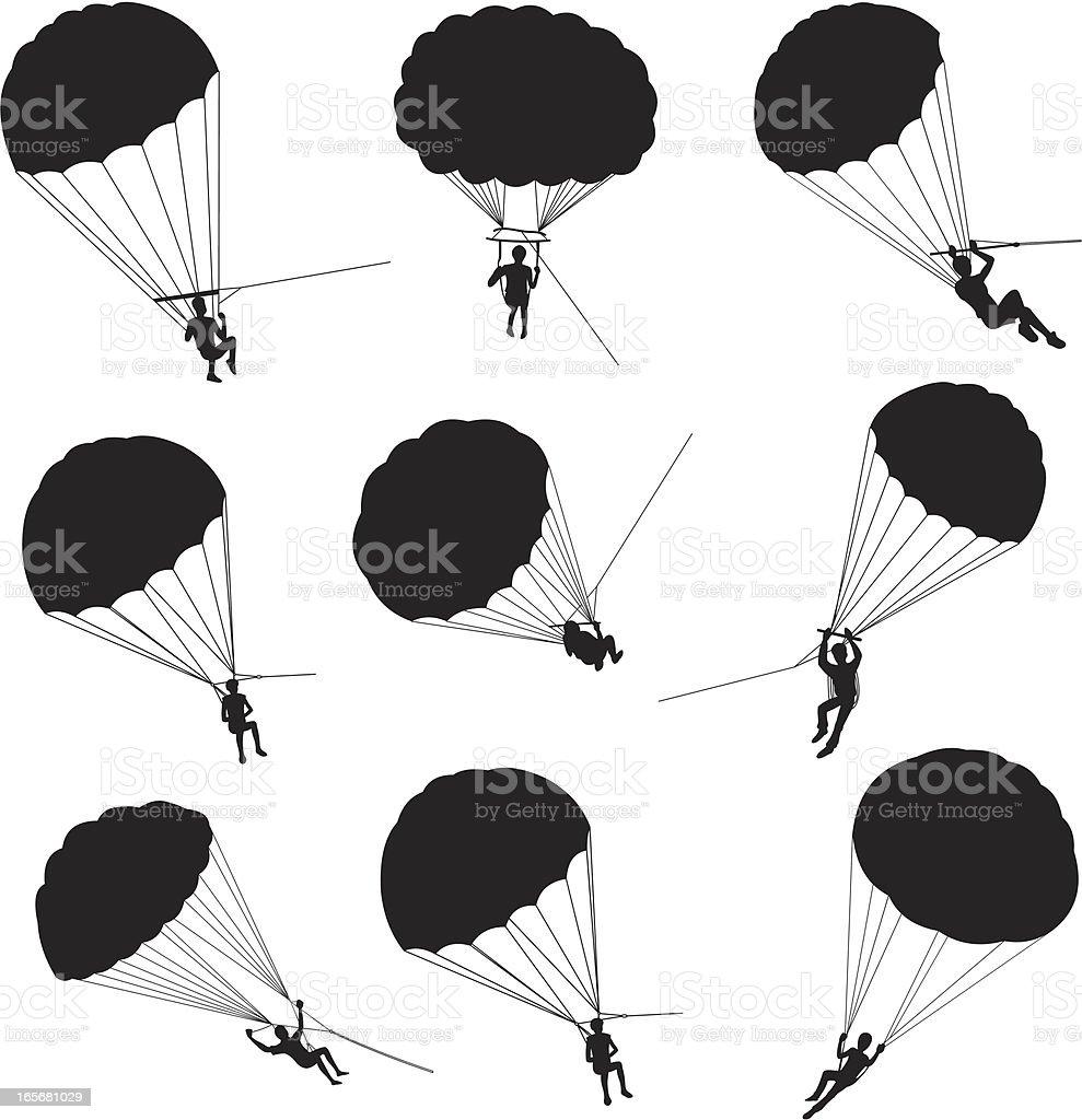 People parasailing vector art illustration