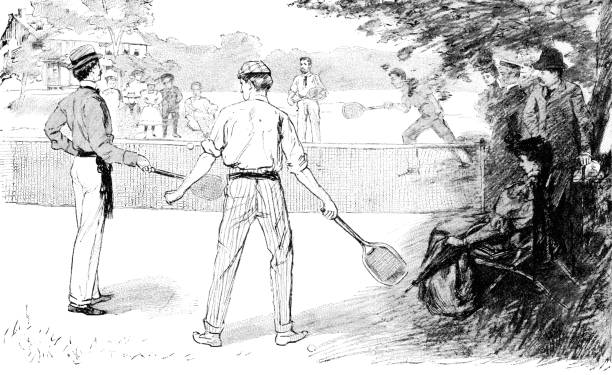 People Playing Tennis in Norfolk, Virginia, United States - 19th Century vector art illustration