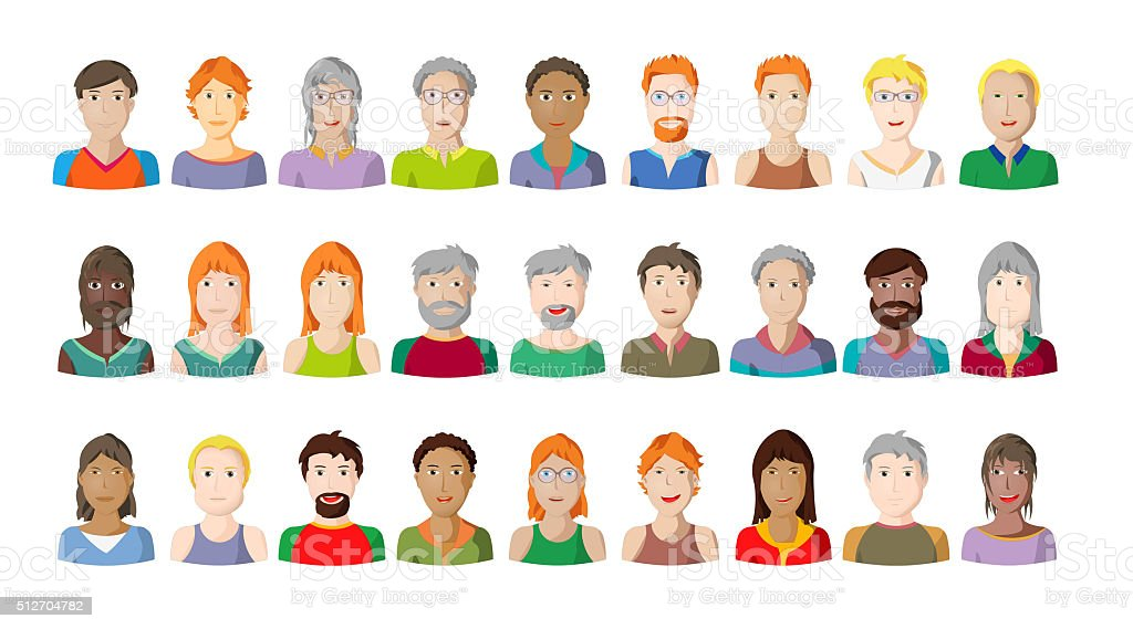 People portraits on white background, cartoon style characters vector art illustration
