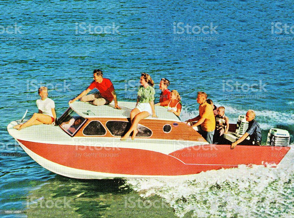 People Riding a Boat royalty-free stock vector art