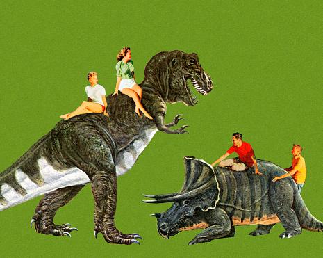 People Riding Dinosaurs