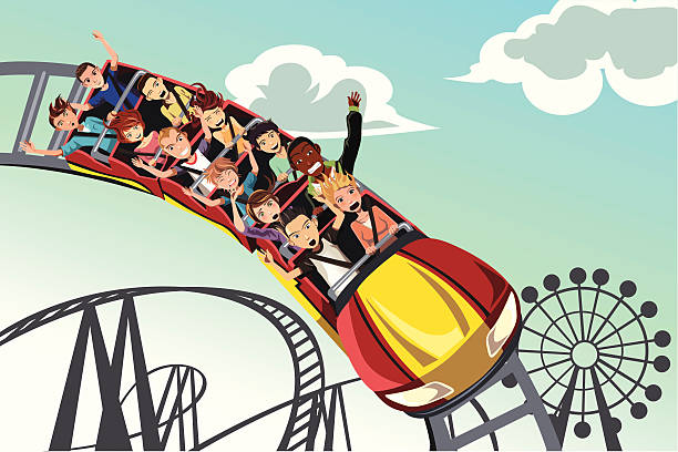 people riding roller coaster - roller coaster stock illustrations