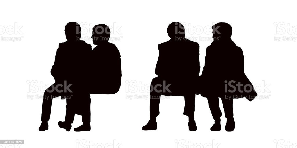 people seated outdoor silhouettes set 10 vector art illustration