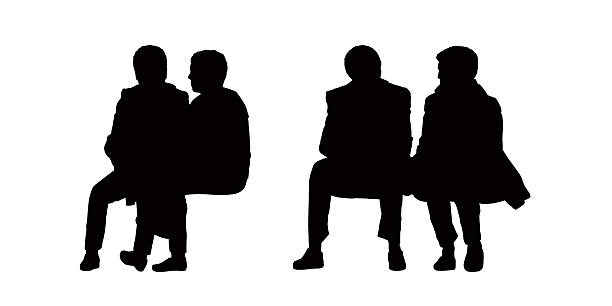 people seated outdoor silhouettes set 10 - old man sitting chair silhouettes stock illustrations, clip art, cartoons, & icons