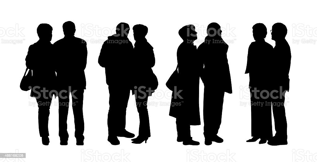 people standing outdoor silhouettes set 28 vector art illustration