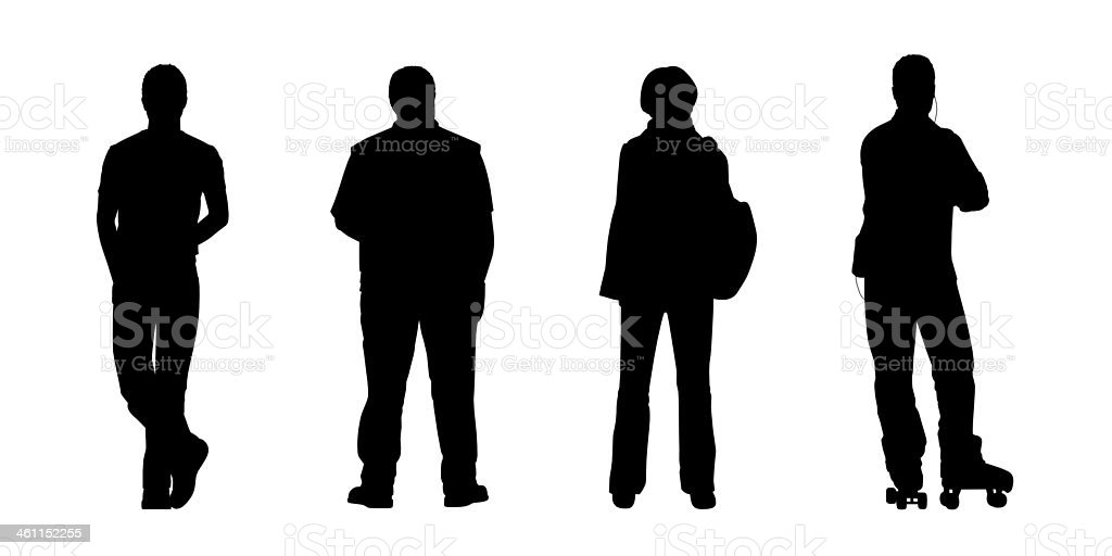 people standing outdoor silhouettes set 4 vector art illustration