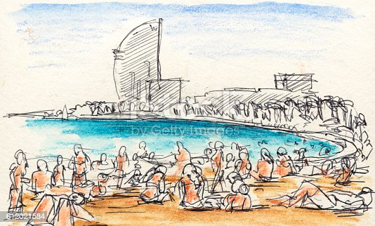 People Sunbathing At Barcelona Beach Drawing Stock Vector Art More Images Of Architecture 612021584