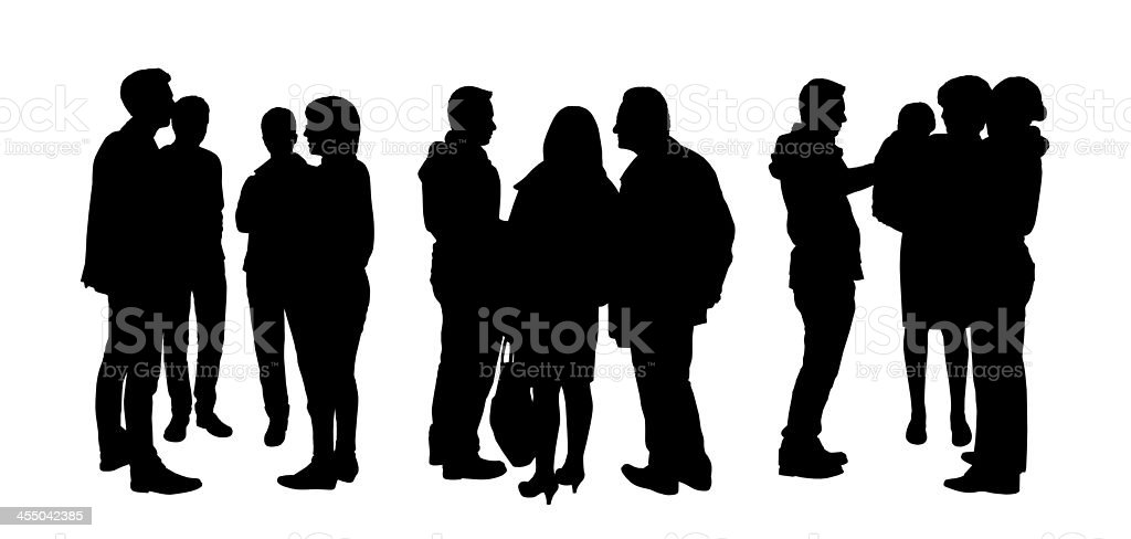 people talking to each other silhouettes set 1 vector art illustration