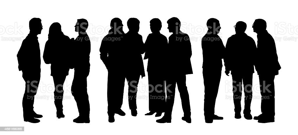 people talking to each other silhouettes set 3 vector art illustration