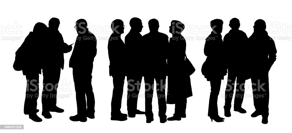 people talking to each other silhouettes set 5 vector art illustration