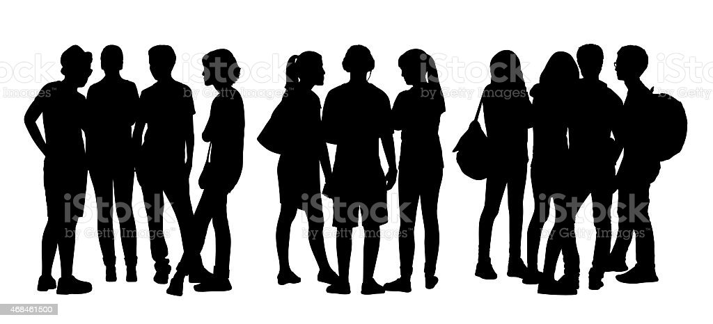 people talking to each other silhouettes set 6 vector art illustration
