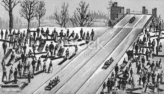 Large crowd of people tobogganing in Montreal, Quebec, Canada. Vintage etching circa late 19th century.