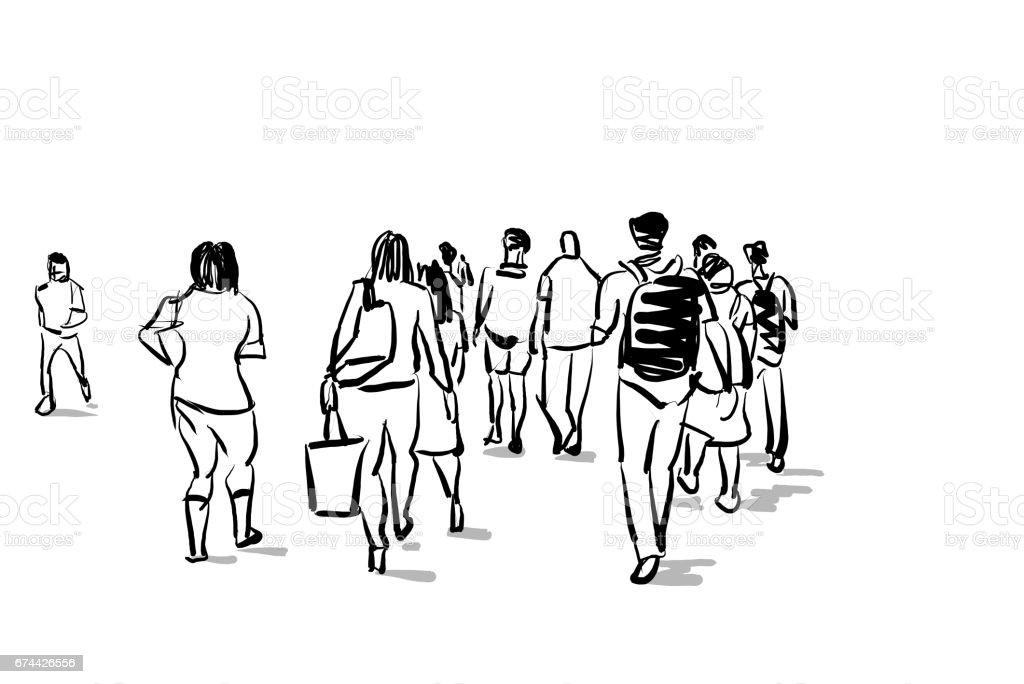 市手書き漫画スケッチで旅行をする人 いたずら書きのベクターアート