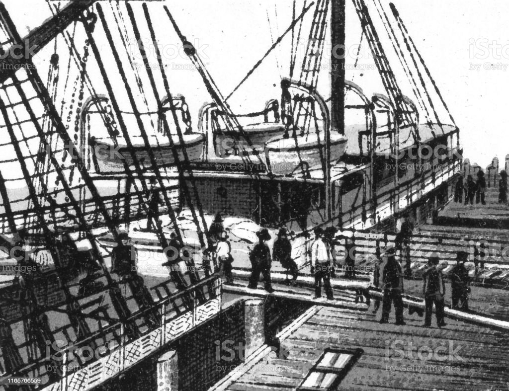 People unloading Chinese tea from a tall ship in Vancouver, British...