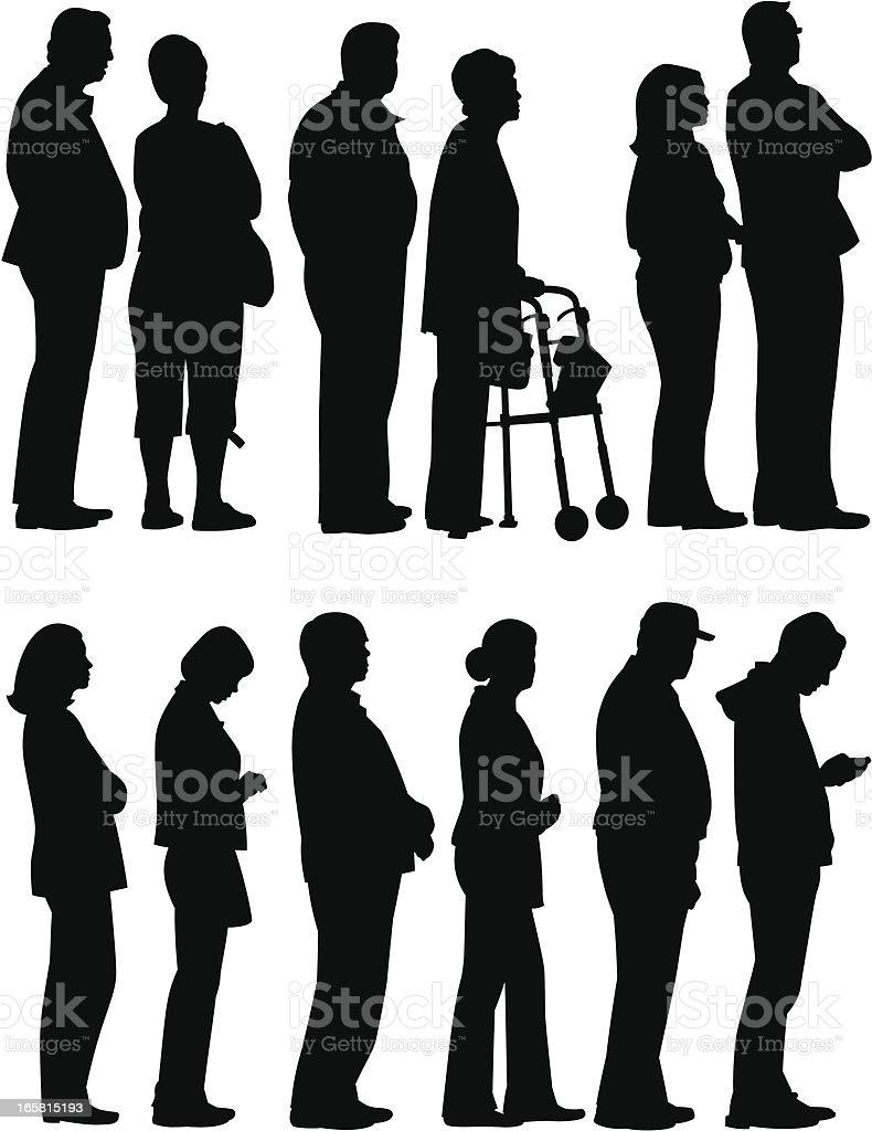 People Waiting vector art illustration