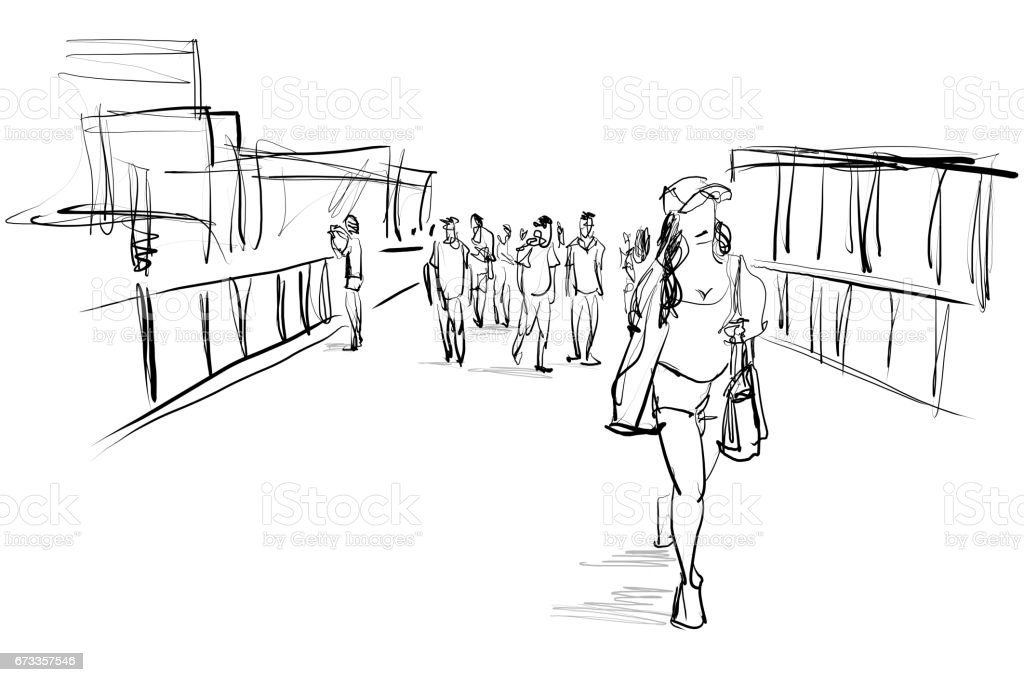 people walking free hand sketch vector art illustration