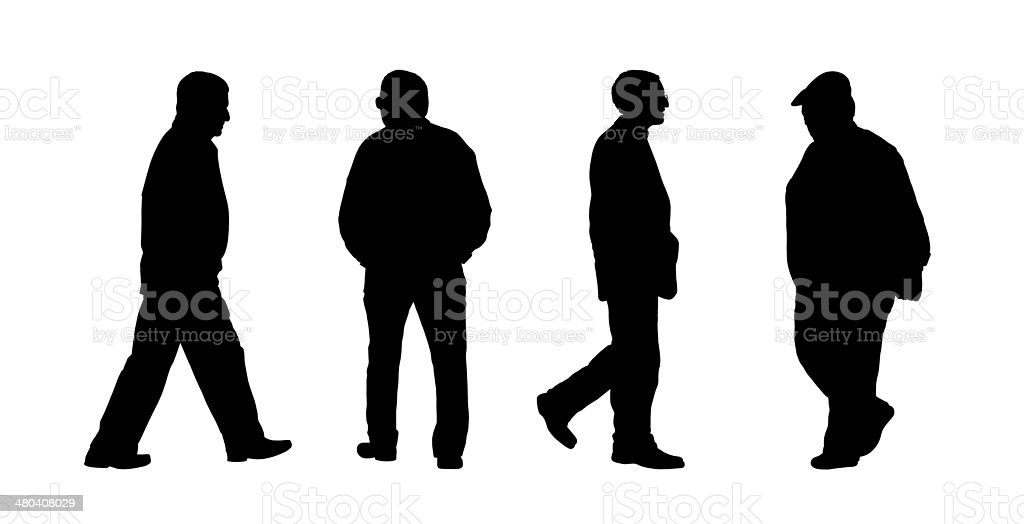 people walking outdoor silhouettes set 9 vector art illustration