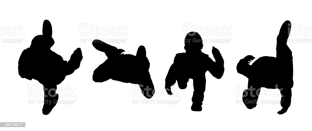 people walking top view silhouettes set 1 vector art illustration