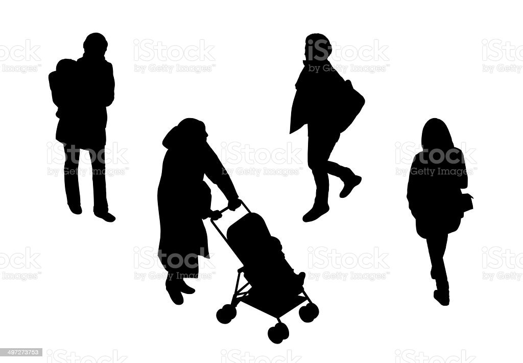 people walking top view silhouettes set 3 vector art illustration