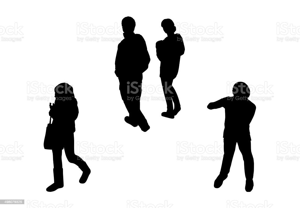 people walking top view silhouettes set vector art illustration