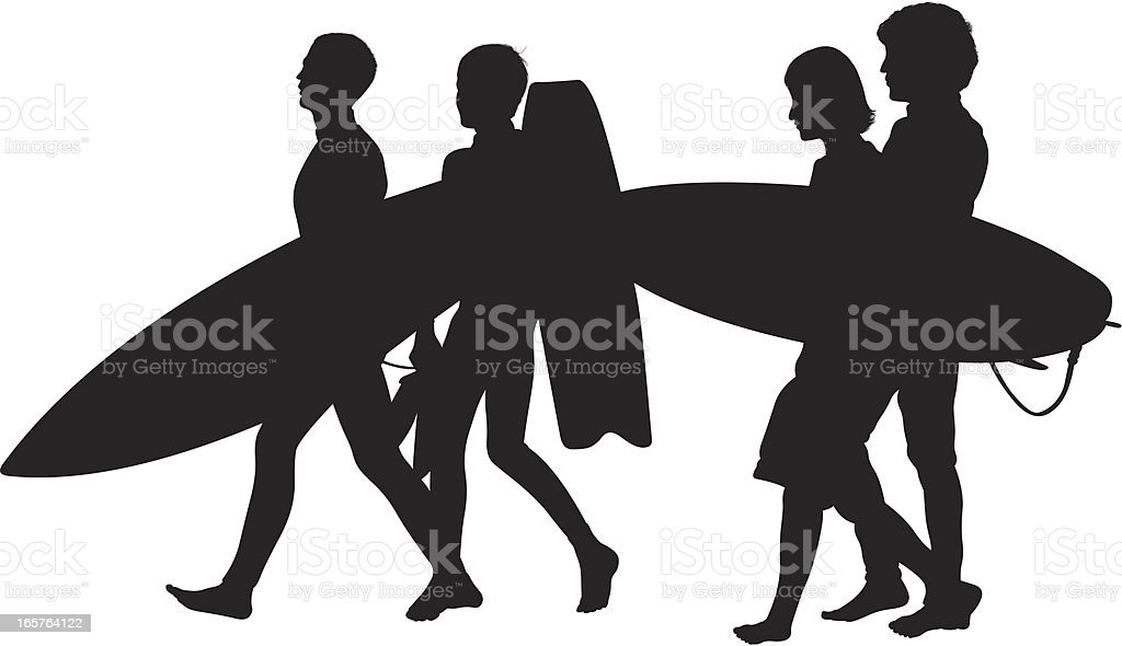 People walking with surfboards going surfing vector art illustration