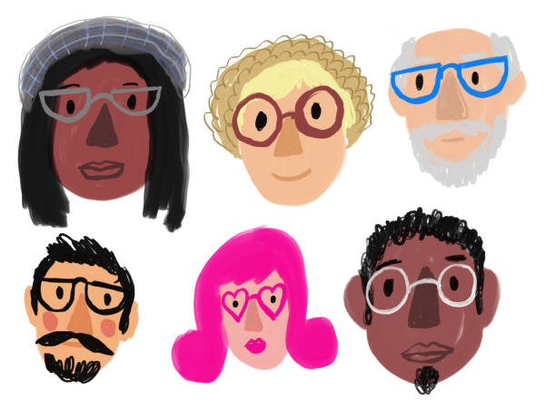 People with eyeglasses vector art illustration