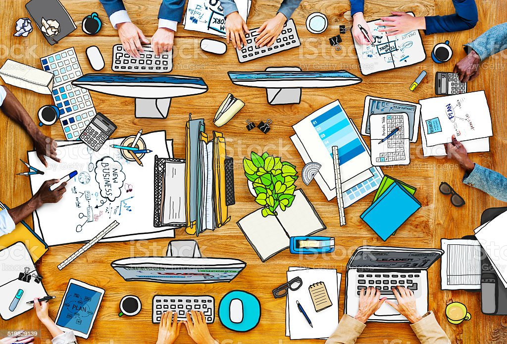 People Working at Messy Table in Photo and Illustration vector art illustration