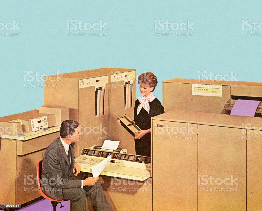 People Working in Office vector art illustration