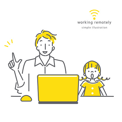 people working remotely, simple line art illustration