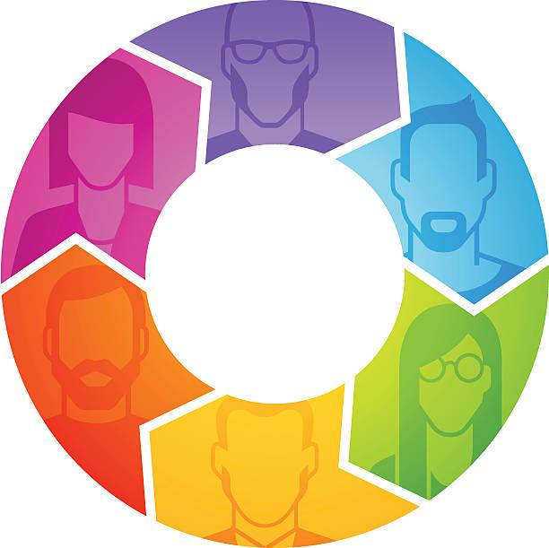 People's profile in arrows vector art illustration