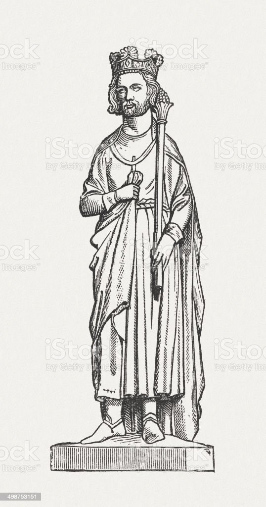 Pepin the Short (c.714-768), King of the Franks, published 1881 royalty-free stock vector art