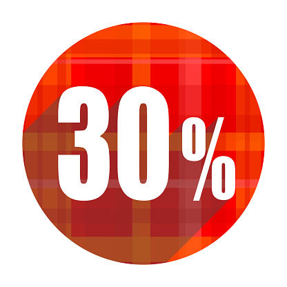 30 percent red flat icon isolated