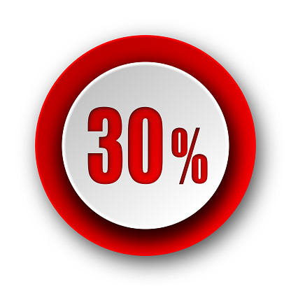 30 percent red modern web icon on white background