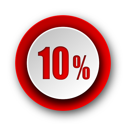 10 percent red modern web icon on white background