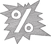 Hand-drawn vector drawing of a starburst shaped Label with a Percentage Sign. Black-and-White sketch on a transparent background (.eps-file). Included files: EPS (v8) and Hi-Res JPG.