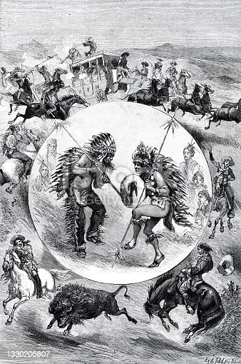 Performances of Buffalo Bill's troupe in Paris, composite drawings