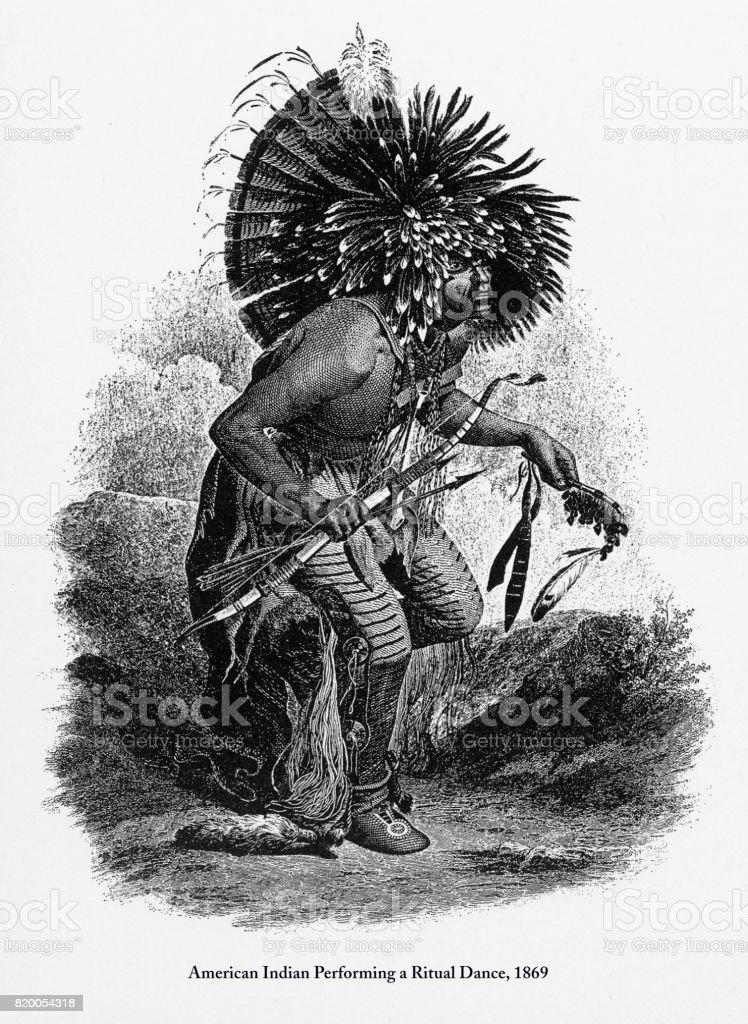 Performing a Ritual Dance, American Indian Engraving, 1869 vector art illustration