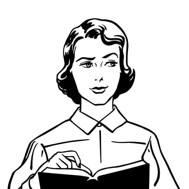 stockillustraties, clipart, cartoons en iconen met perplexed woman with book - wegkijken
