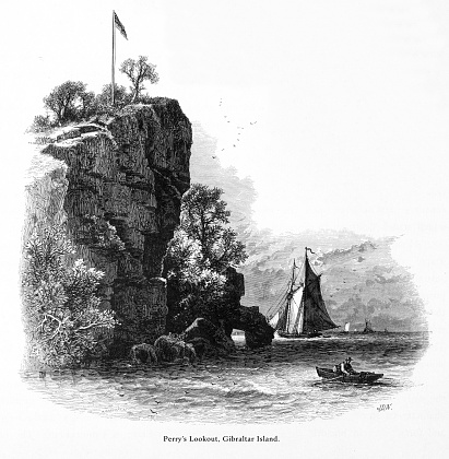 Perry's Lookout on Gibraltar Island, Ohio, United States, American Victorian Engraving, 1872
