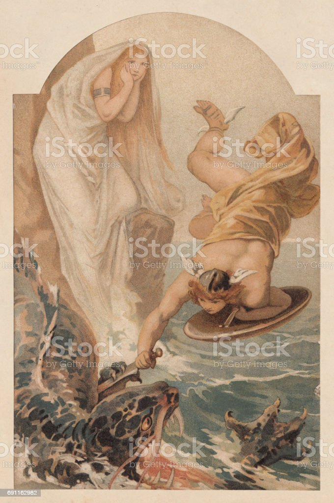 Perseus freeing Andromeda, Greek Mythology, lithograph, published in 1897 vector art illustration