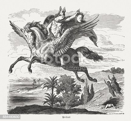Perseus with the Medusa head on the winged horse Pegasus. Scene from the Greek mythology. Wood engraving after a drawing by Heinrich Leutemann (German painter, 1824 - 1905), published in 1880.