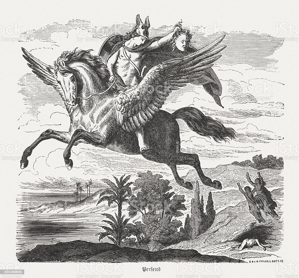 Perseus on Pegasus, Greek Mythology, wood engraving, published in 1880 vector art illustration
